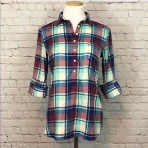 J. CREW | Perfect Fit Plaid Flannel Popover Shirt